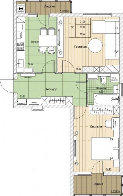 2-комнатная квартира ул. Володарского - Дзержинского - Земнухова, Калининград