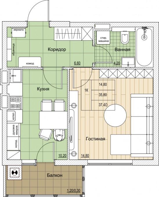 1-комнатная квартира ул. Володарского - Дзержинского - Земнухова, Калининград