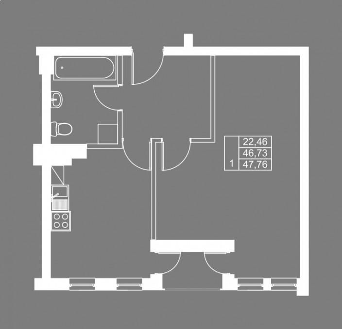 1-комнатная квартира ул. Чернышевского, Калининград
