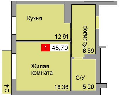 1-комнатная квартира ул. Сосновая, Светлогорск
