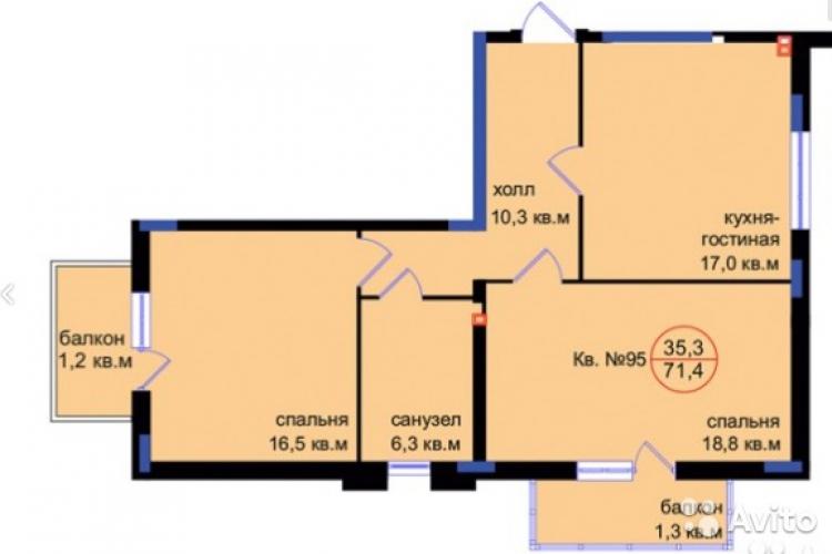 2-комнатная квартира ул. Артиллерийская, Калининград