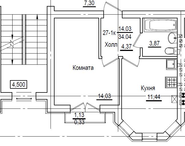 1-комнатная квартира Калининград, Октябрьская площадь