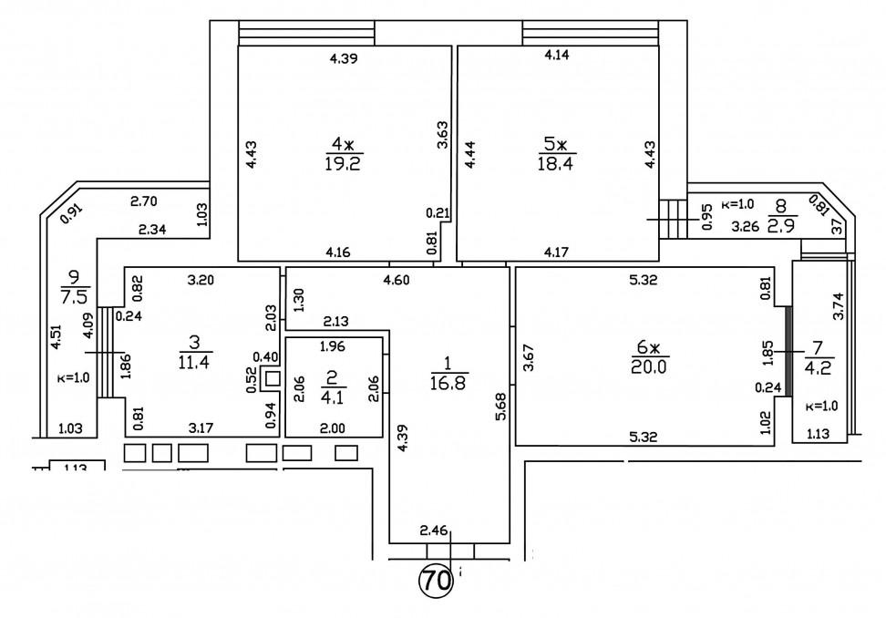 3-комнатная квартира Тургенева, Зеленоградск