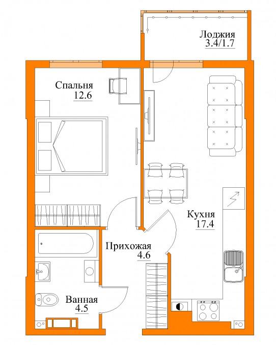 1-комнатная квартира Уютная, Калининград