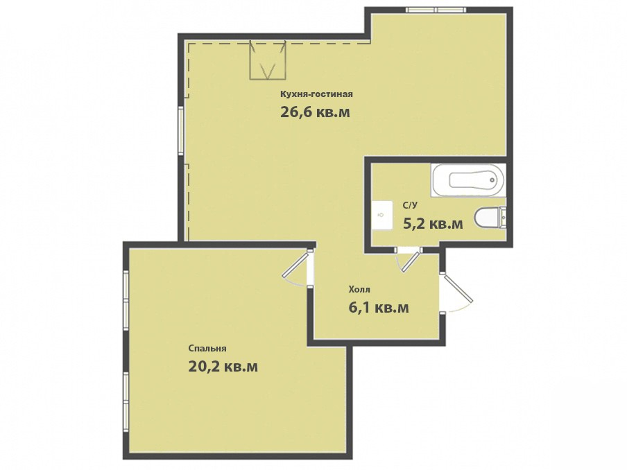 1-комнатная квартира ул. Зеленая, Гурьевск