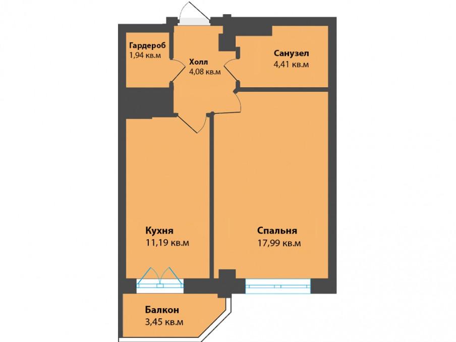 1-комнатная квартира ул. К. Леонова, Калининград