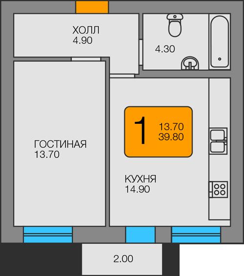 1-комнатная квартира Советская , Янтарный