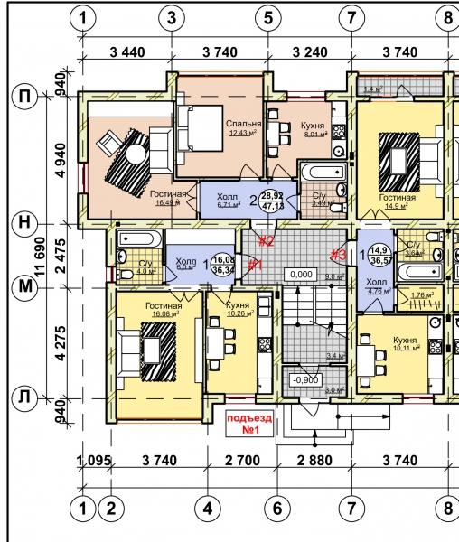 1-комнатная квартира Балебина, Янтарный